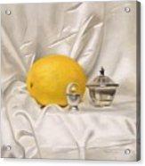 Melon On White Silk Acrylic Print