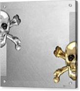Memento Mori - Gold And Silver Human Skulls And Bones On White Canvas Acrylic Print