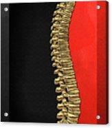 Memento Mori - Gold Human Backbone Over Black And Red Canvas Acrylic Print
