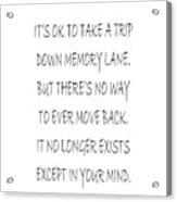 Memory Lane Poem Acrylic Print