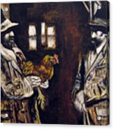 Men And Hen After A Photograph Shown On Pbs  Acrylic Print