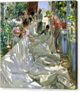 Mending The Sail Acrylic Print by Joaquin Sorolla y Bastida