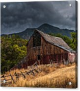 Mendon Utah Barn In Storm Acrylic Print by Gary Whitton