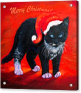 Meow Christmas Kitty Acrylic Print