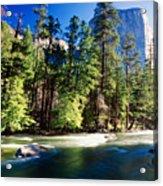 Merced River With The El Capitan Yosemite  National Park California Acrylic Print