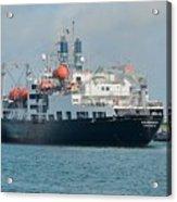 Merchant Marine Training Ship Kennedy And Tugboats Acrylic Print