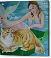Mermaid And Cat Acrylic Print