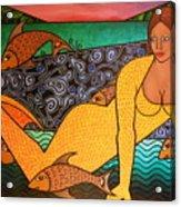 Mermaid And Friends Acrylic Print