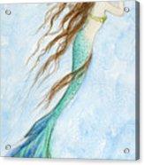 Mermaid And Her Seahorse Acrylic Print