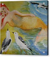 Mermaid And Seagulls Acrylic Print