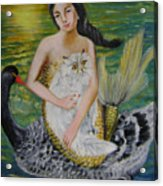 Mermaid And Swan Acrylic Print