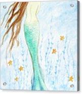 Mermaid In Her Garden Acrylic Print