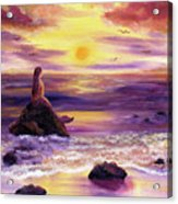 Mermaid In Purple Sunset Acrylic Print