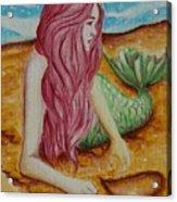 Mermaid On Sand With Heart Acrylic Print