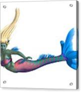 Mermaid On White Acrylic Print