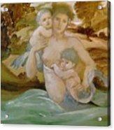 Mermaid With Her Offspring Acrylic Print