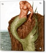 Merman On The Rocks Acrylic Print