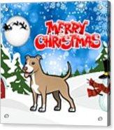 Merry Christmas American Pitbull Terrier  Acrylic Print