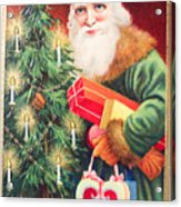 Merry Christmas Santa Delivers Gifts Vintage Card Acrylic Print