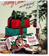 Merry Christmas Vintage Cigarette Advert Acrylic Print