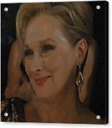 Meryl Streep Receiving The Oscar As Margaret Thatcher  Acrylic Print