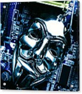 Metal Anonymous Mask On Motherboard Acrylic Print