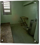 Metal Bed Inside Solitary Confinement Cell Acrylic Print