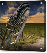Metal Monster Emerging From The Earth Acrylic Print