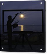 Metal Sculpture Of Painter Acrylic Print