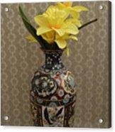 Metal Vase With Flowers Acrylic Print