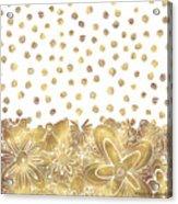 Metallic Gold Floral Flower Swirls Trendy Unique Art By Madart Acrylic Print