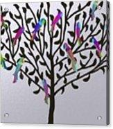 Metallic Parrot Tree Acrylic Print