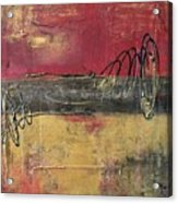 Metallic Square Series I - Red And Gold Urban Abstract Painting Acrylic Print