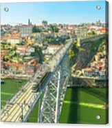 Metro Train Over Porto Bridge Acrylic Print