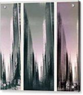 Metropolis Rush Hour Triptych Acrylic Print