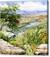 Mexican Landscape Watercolor Acrylic Print