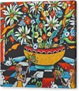 Mexican Vase With Spring Flowers Acrylic Print