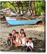 Mia-gao Fishing Children 1 Acrylic Print