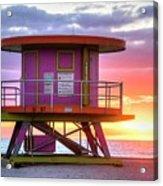Miami Beach Round Life Guard House Sunrise Acrylic Print