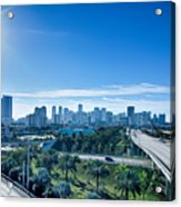 Miami Florida City Skyline And Streets Acrylic Print