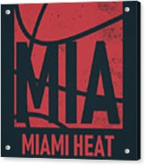 Miami Heat City Poster Art Acrylic Print
