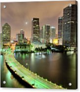 Miami Skyline At Night Acrylic Print by Steve Whiston - Fallen Log Photography