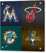 Miami Sports Fan Recycled Vintage Florida License Plate Art Marlins Heat Dolphins Panthers Acrylic Print