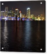 Miami's Downtown At Night Acrylic Print