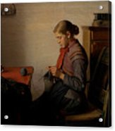 Michael Ancher - Skagen Girl, Maren Sofie, Knitting. Acrylic Print