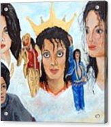 Michael Jackson-faces Acrylic Print by Janna Columbus
