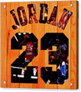 Michael Jordan Wood Art 1a Acrylic Print