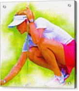 Michelle Wie Of Usa Lined Her Ball Acrylic Print
