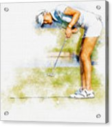 Michelle Wie Of Usa Putting At The  Lpga Lotte Championship  Acrylic Print