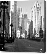 Michigan Ave Tall B-w Acrylic Print
